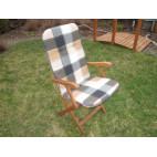 Polstr na lavice a křesla s vysokou opěrkou (hnědá kostka)