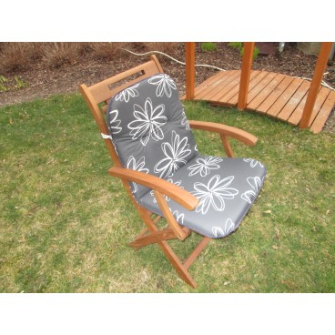 Polstr na lavice a křesla s nízkou opěrkou (šedý s kytkou)