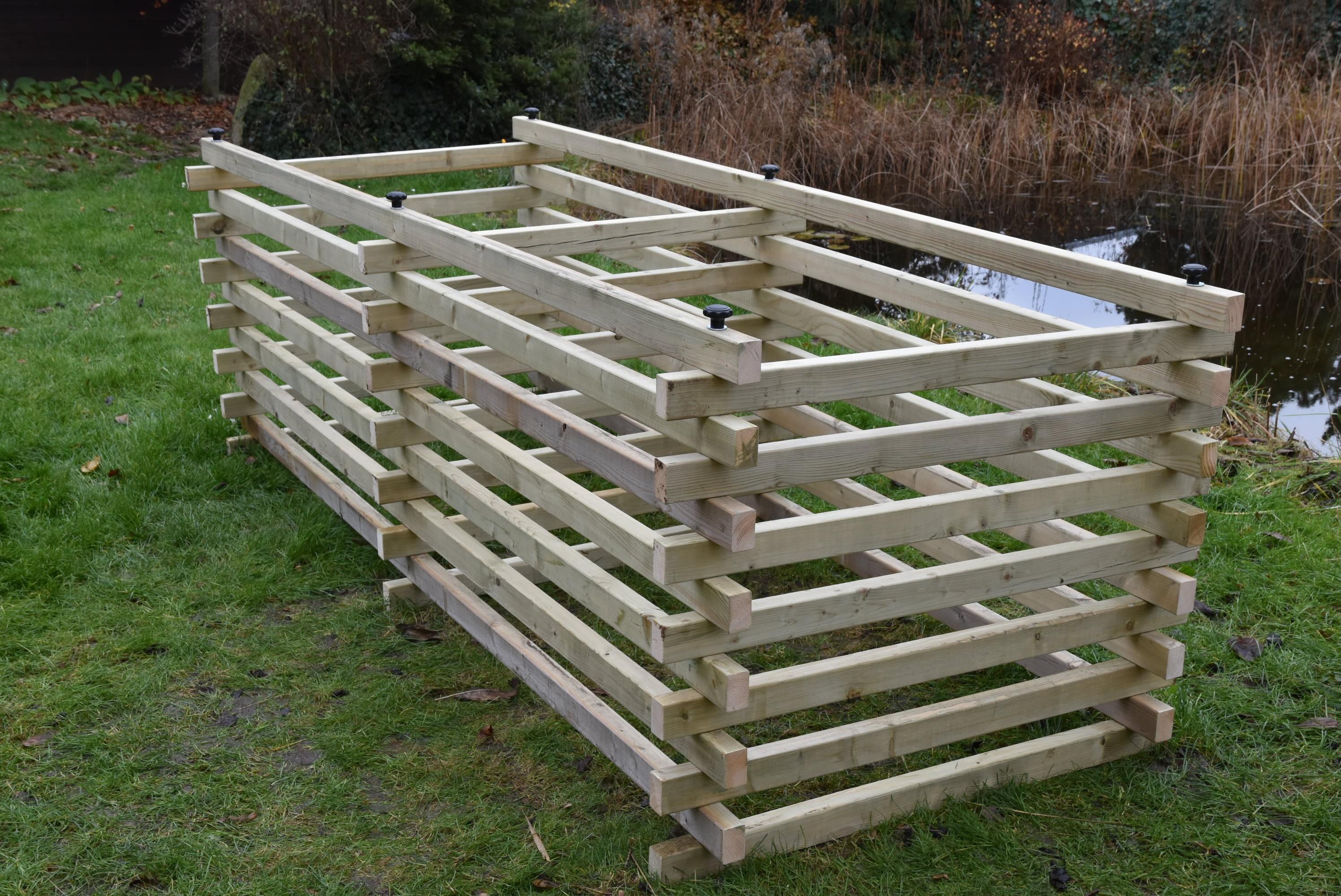 Dřevěný kompostér 120 x 300 cm s přepážkou