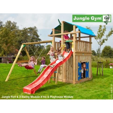 Hřiště Jungle Fort  se skluzavkou, modulem Playhouse a 2-Swing X´tra