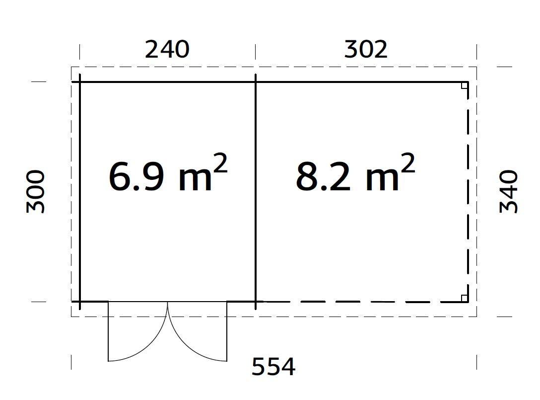 Zahradní domek Ela 6,9 + 8,2 m2
