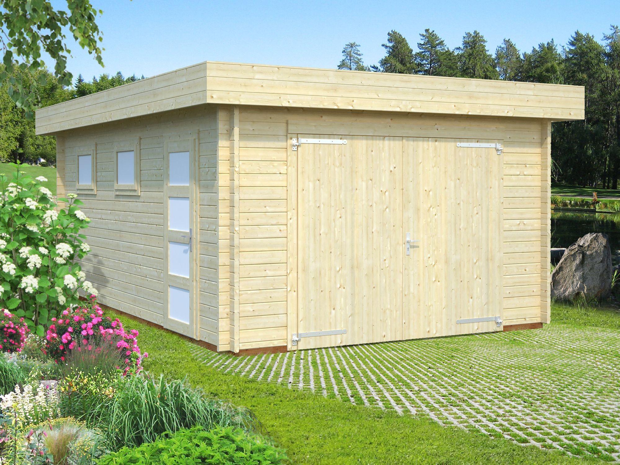 Garážové stání Rasmus 19 m2 s dřevěnými vraty