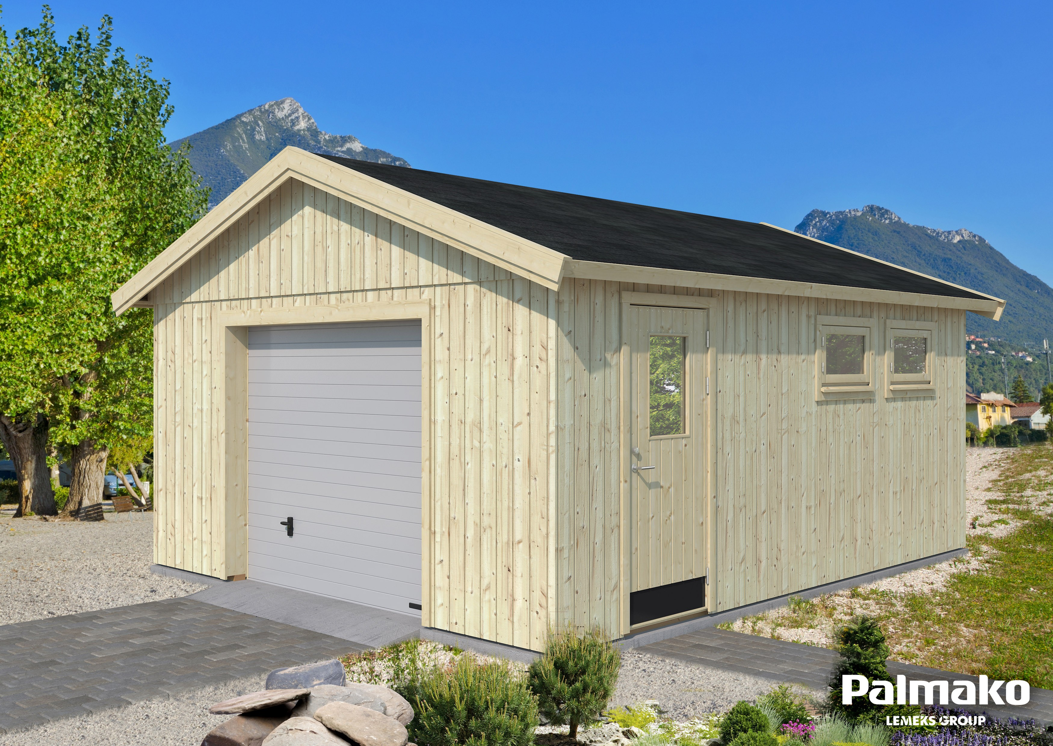 Dřevěná garáž Andrej 28,5 m2 se sekčními vraty