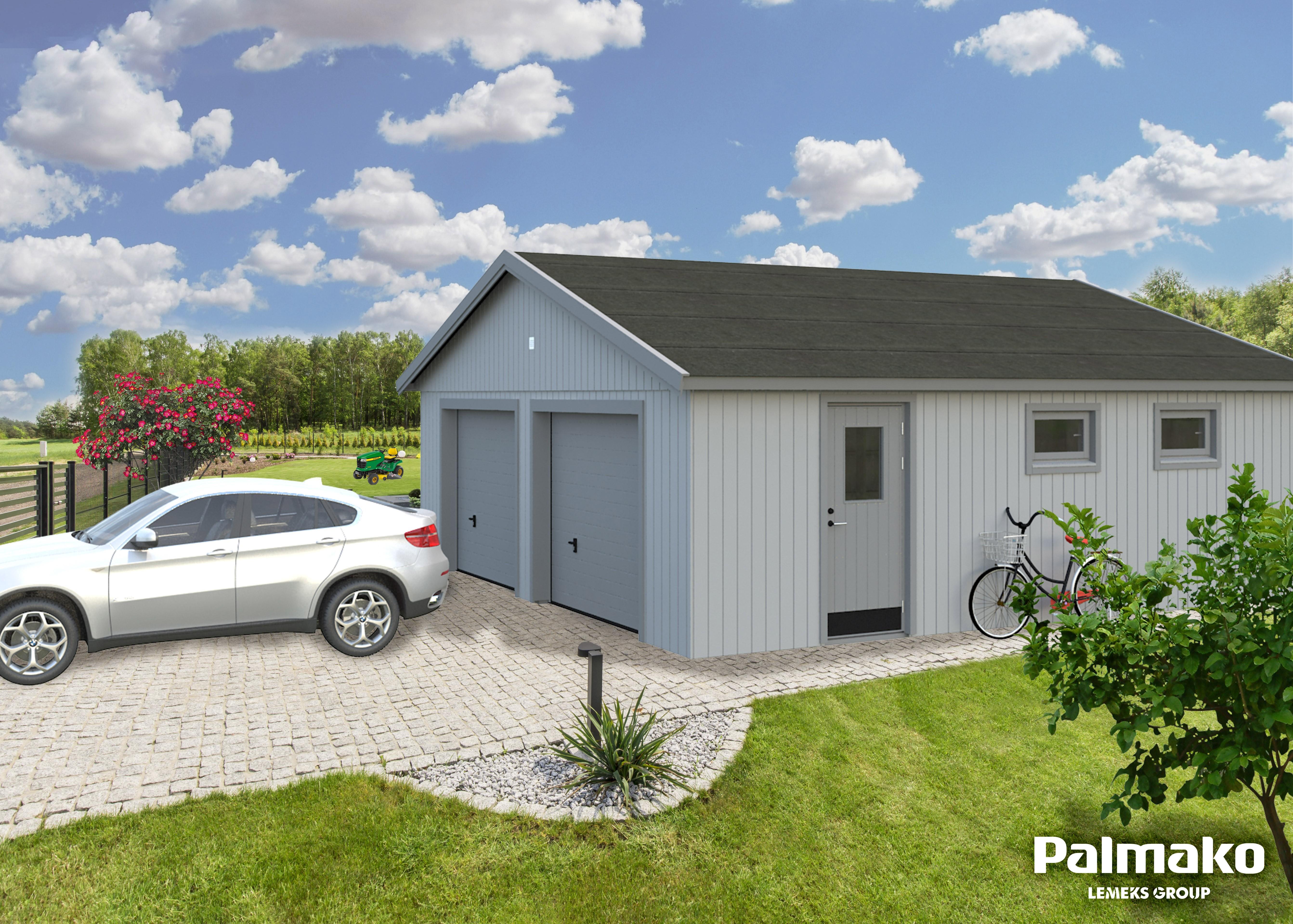 Dřevěná garáž Andrej 44,7 m2 se sekčními vraty
