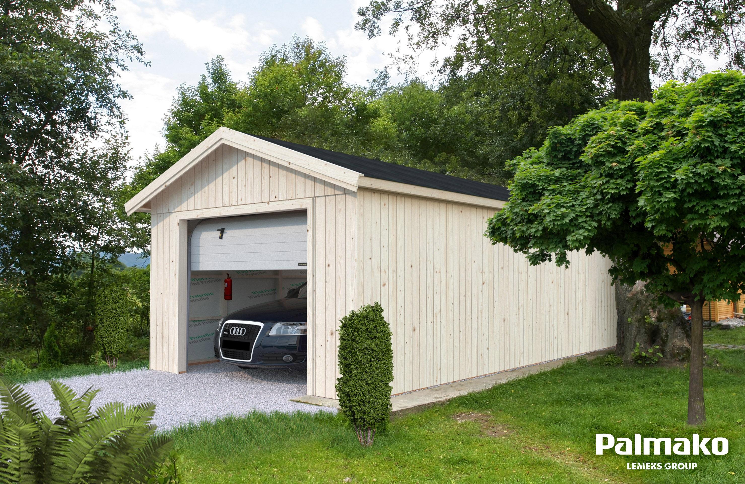 Dřevěná garáž Sten 22,9 m2 se sekčními vraty