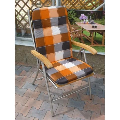 Polstr na křesla a židle s vysokou opěrkou vzor oranžovo-šedá kostka